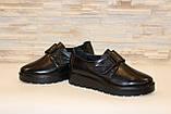 Туфли женские черные на липучках натуральная кожа Т865, фото 4