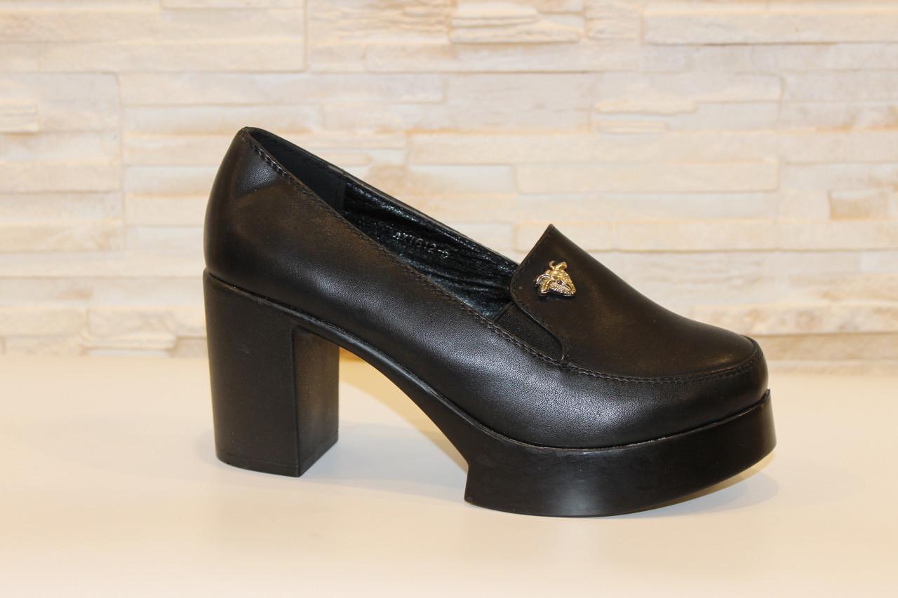 Туфли женские черные на каблуке Т892
