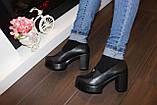 Туфли женские черные на каблуке Т892, фото 5