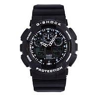 Стильные! Спортивные часы Casio G-Shock ga-100 Black-White (касио джи шок черные с белым) наручний годинник