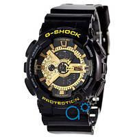 Часы Casio G-Shock ga-110 (касио джи-шок)  BLACK-GOLD черные с зол (стильные, спортивные) (Наручний годинник)