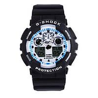 Стильные! Спортивные Часы Casio G-Shock ga-100 Black-White (касио джи шок черные с белым цф. Наручний годинник
