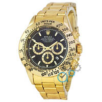 ЧАСЫ МУЖСКИЕ Rolex  Daytona Date Gold-Black (Ролекс Дайтоне золото-черный)  Чоловічий годинник реплика