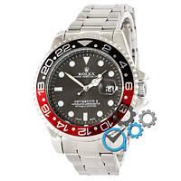 МУЖСКИЕ часы ROLEX GMT-Master Silver-Red-Black (Ролекс Дайтона) браслет серебро, Чоловічий годинник реплика