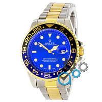 МУЖСКИЕ часы ROLEX GMT-Master Silver-Gold-Black-Blue (Ролекс Дайтона) браслет серебро, Чоловічий годинник