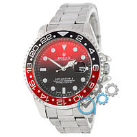 МУЖСКИЕ часы ROLEX GMT-Master Silver-Black-Red (Ролекс Дайтона) браслет серебро, Чоловічий годинник