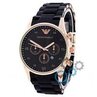Emporio Armani Gold-Black ЧАСЫ Мужские (эмпорио армани золото-черный)  Чоловічий годинник реплика, фото 1