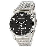 EMPORIO ARMANI  Silver - Black ЧАСЫ Мужские наручные (эмпорио армани графит)  Чоловічий годинник реплика