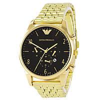 EMPORIO ARMANI  Gold - Black ЧАСЫ Мужские наручные (эмпорио армани золото - черный) Чоловічий годинник реплика