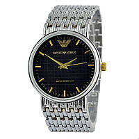 EMPORIO ARMANI 3100G -ЧАСЫ Мужские наручные (эмпорио армани серебристый - черный) Чоловічий годинник реплика