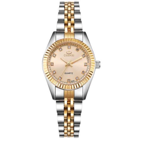 Наручные женские часы с золотистым браслетом код 374