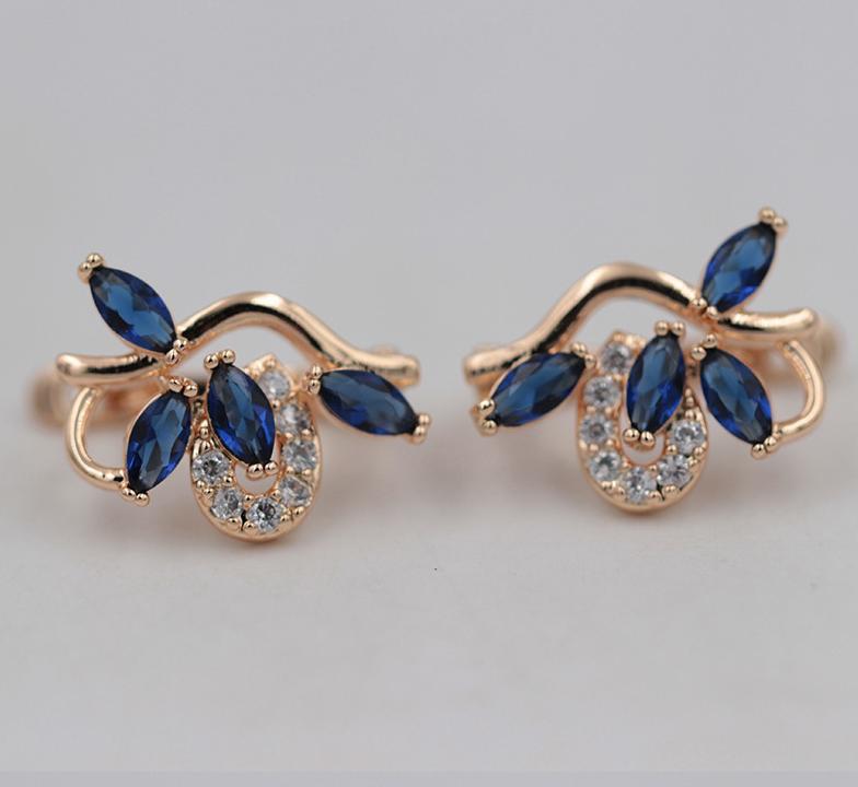 Позолочені сережки з синіми цирконами код 1359