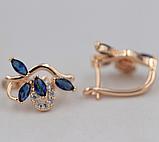 Позолочені сережки з синіми цирконами код 1359, фото 2