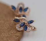 Позолочені сережки з синіми цирконами код 1359, фото 3