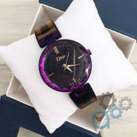 ОРИГИНАЛЬНЫЕ! Женские часы Dior (Диор черные с фиолетовым) в Коробке,  Жіночий годинник,  копия Гарантия