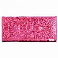 РОЗОВЫЙ Женский Клатч, портмоне, кошелек 3D Crocodile Long Pink, жіночий клатч гаманець