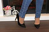 Туфли женские черные на каблуке Т916, фото 7