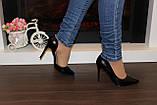 Туфли женские черные на каблуке Т916, фото 8