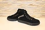 Ботинки женские черные замшевые Д537, фото 4