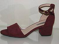 Бордовые женские замшевые босоножки на невысоком каблуке закрытая пятка марсал 35 36 37 38 39 40