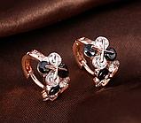Позолочені сережки з чорними і білими цирконами код 1393, фото 4