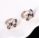 Позолочені сережки з чорними і білими цирконами код 1393, фото 6