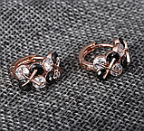 Позолочені сережки з чорними і білими цирконами код 1393, фото 7