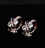 Позолочені сережки з чорними і білими цирконами код 1393, фото 9