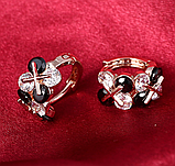Позолочені сережки з чорними і білими цирконами код 1393, фото 10