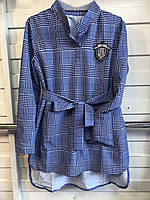 Подростковое платье с поясом воротник рубашкой для девочки от 6 до 9 лет,светло синее в клетку