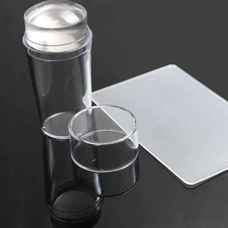 Ногти Арт-шаблон Чисто-прозрачное желе Силиконовый Ногти Штамповка Пластина Скребок с крышкой - 1TopShop