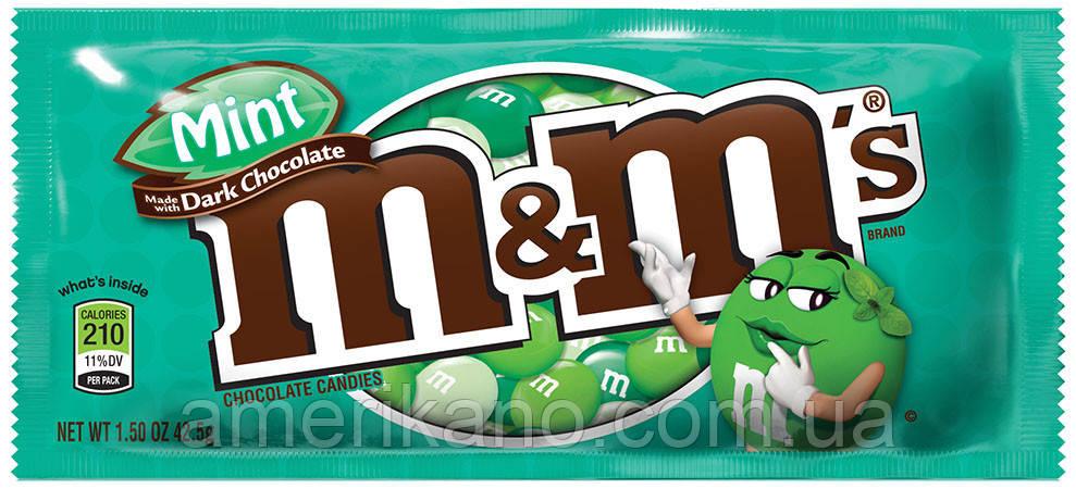 M&M's Mint Dark Chocolate емемдемс черный шоколад в мятной глазури, США