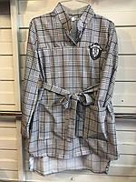 Подростковое платье с поясом  в клетку для девочки от 6 до 9 лет светло серое воротник рубашкой