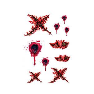 1шт Временное тело Макияж Хэллоуин Ужас Раны Кровавый Шрам Татуировки Наклейка - 1TopShop, фото 2
