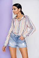 """Женская рубашка """"L-208"""" (бежево-розовый)"""