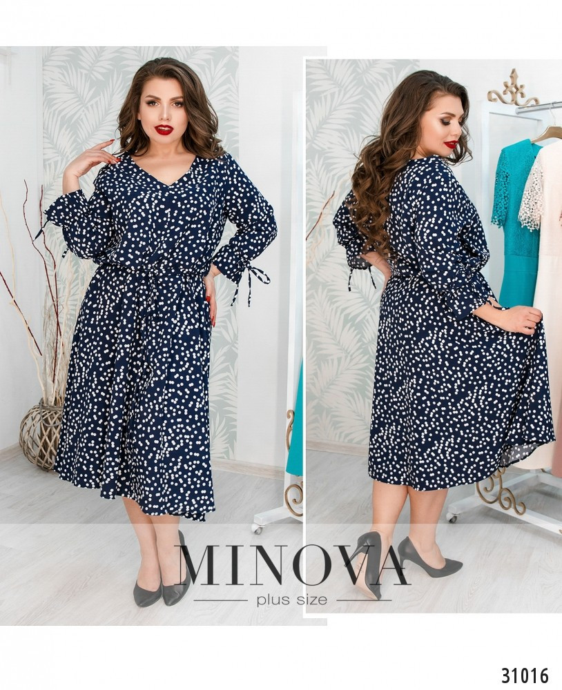 Платье в модный горошек размеры с 50 по 60