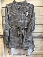 Підліткове плаття з поясом в клітку для дівчинки від 6 до 9 років сіре комір сорочкою
