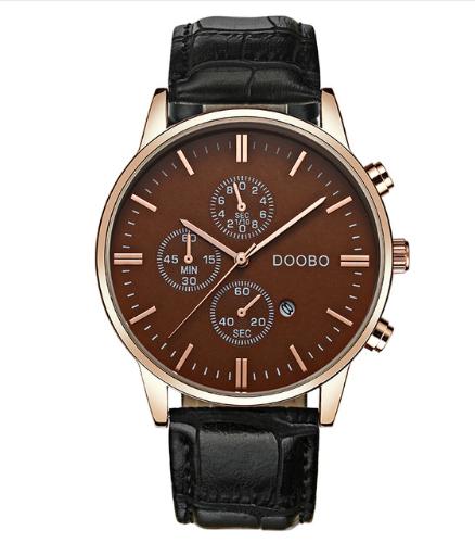 Кварцевые наручные мужские часы с черным ремешком код 385