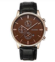Кварцовий наручний чоловічий годинник з чорним ремінцем код 385