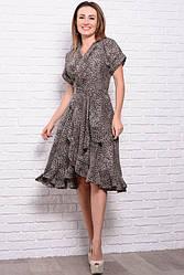 Летнее платье - халат  Бланка, Леопард, шоколадный