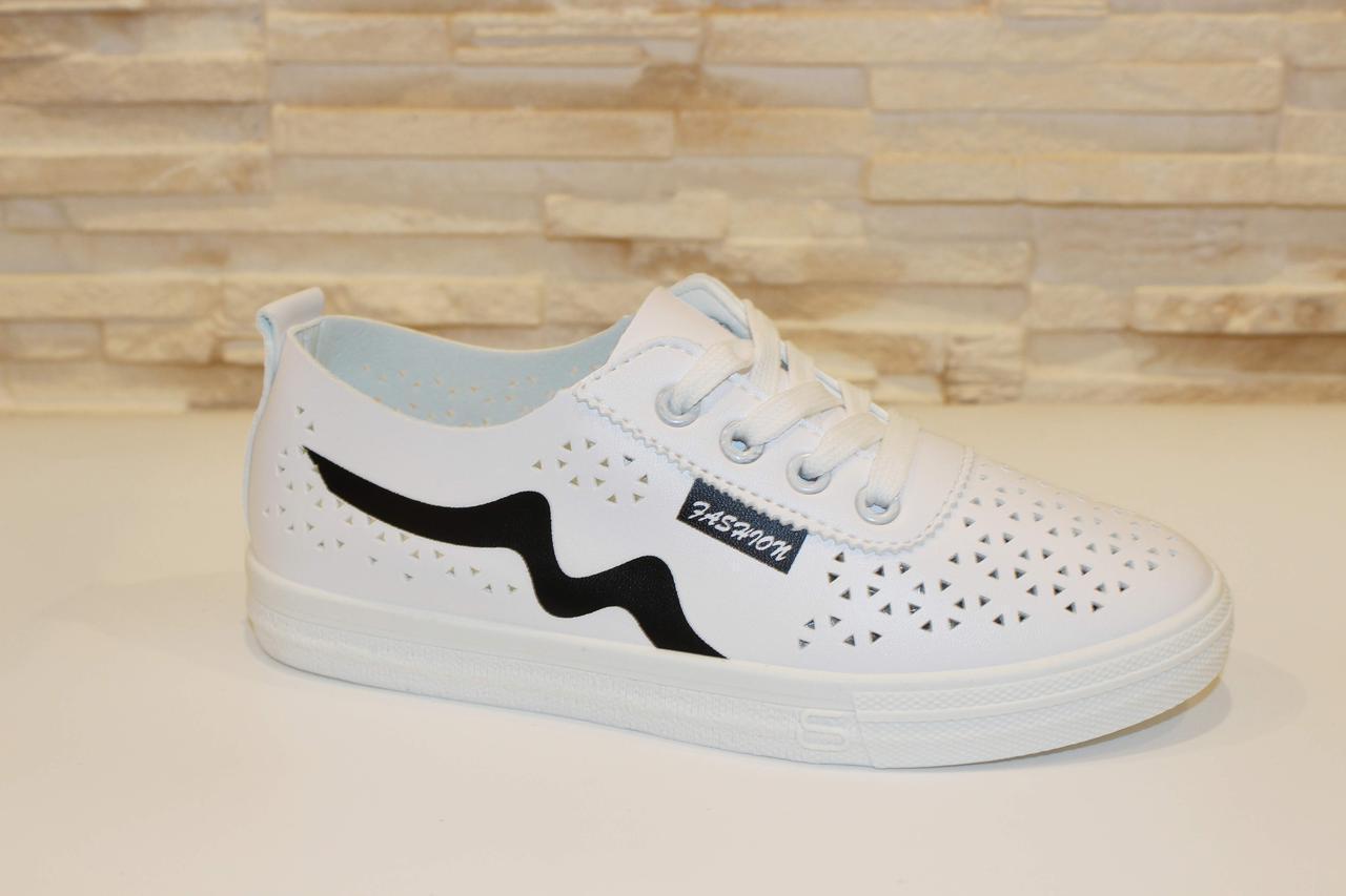 Слипоны женские белые на шнурках Т1