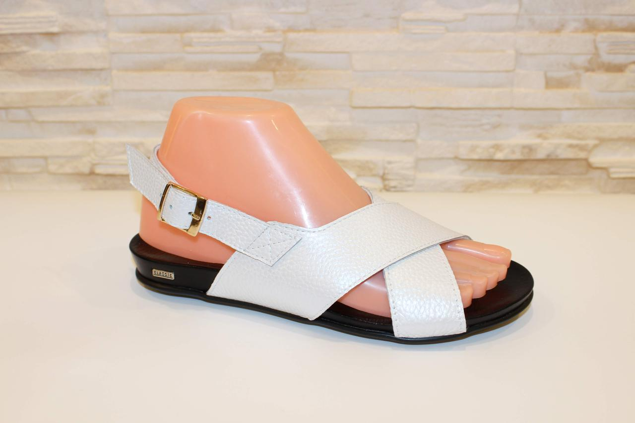 Босоножки женские белые без каблука натуральная кожа Б988