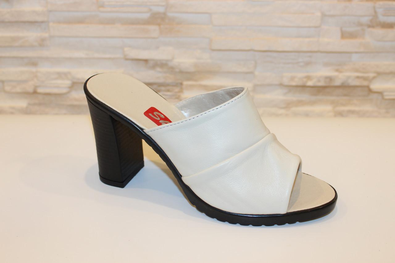 Шлепанцы женские бежевые на каблуке натуральная кожа Б981