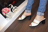 Шлепанцы женские бежевые на каблуке натуральная кожа Б982, фото 5