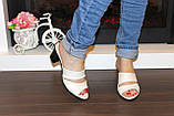 Шлепанцы женские бежевые на каблуке натуральная кожа Б982, фото 6