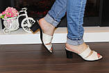 Шлепанцы женские бежевые на каблуке натуральная кожа Б982, фото 7