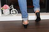 Шлепанцы женские бежевые на каблуке натуральная кожа Б982, фото 8