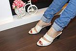 Шлепанцы женские бежевые на каблуке натуральная кожа Б982, фото 9