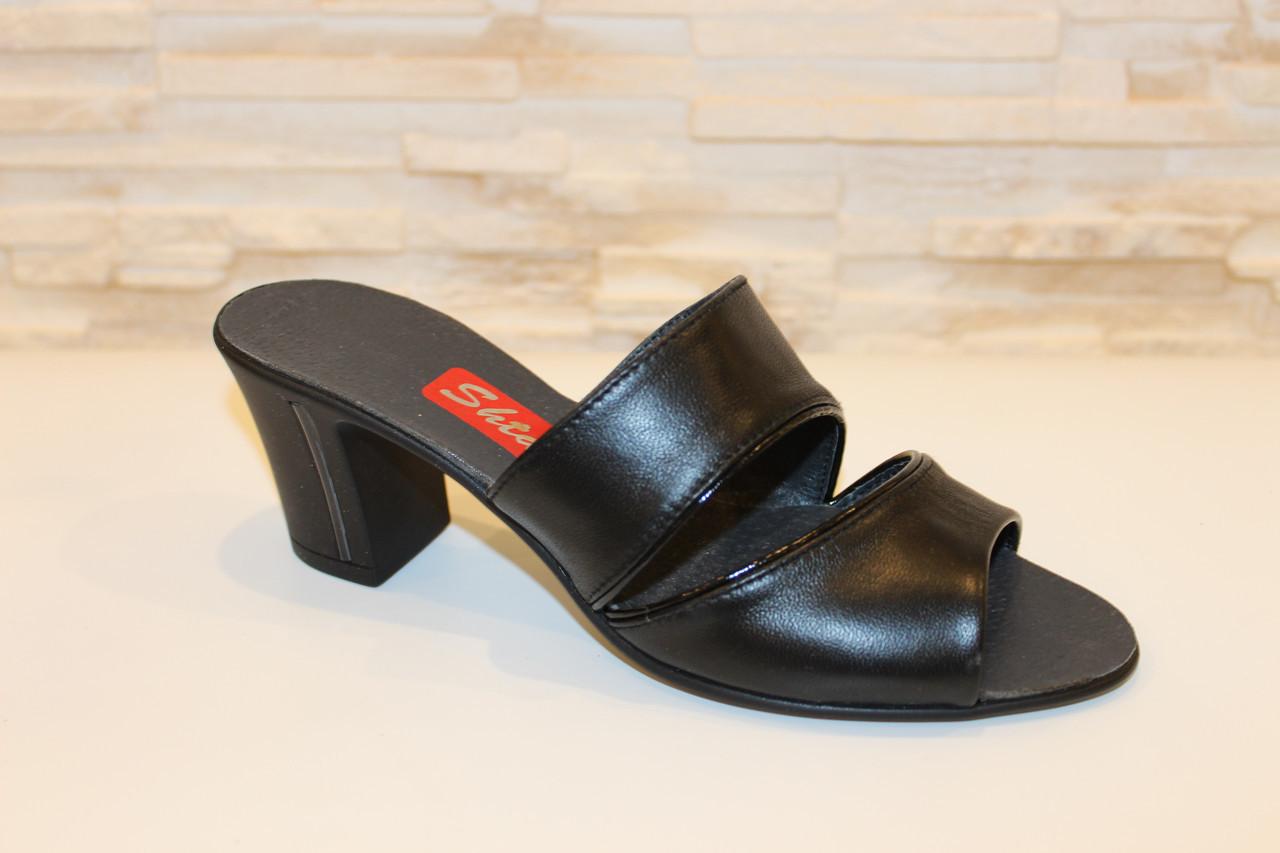 Шлепанцы женские черные на каблуке натуральная кожа Б983