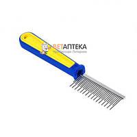 Расческа с пластиковой желто-синей ручкой разные зубья  19,5*3 см FOX 308
